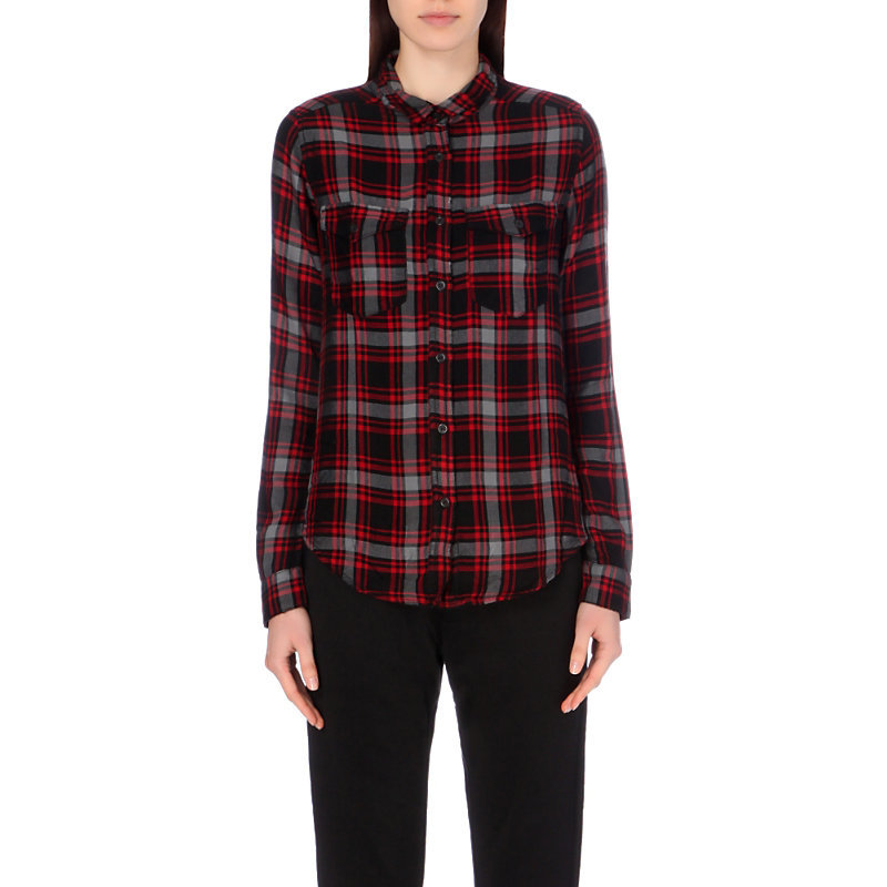 Checked Jersey Shirt, Women's, Size: Large, Black - neckline: shirt collar/peter pan/zip with opening; pattern: checked/gingham; style: shirt; predominant colour: burgundy; secondary colour: light grey; occasions: casual; length: standard; fibres: viscose/rayon - 100%; fit: body skimming; sleeve length: long sleeve; sleeve style: standard; pattern type: fabric; texture group: jersey - stretchy/drapey; multicoloured: multicoloured; season: a/w 2016; wardrobe: highlight