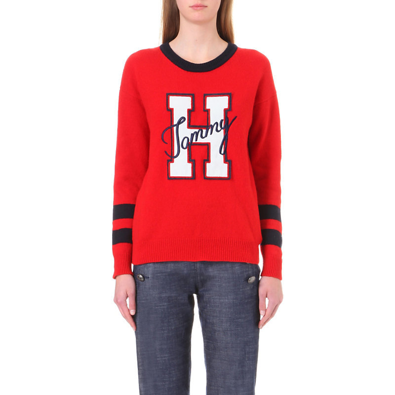 X Gigi Hadid Logo Embroidered Wool Blend Jumper, Women's, Size: Large, Mars Red - neckline: round neck; style: standard; predominant colour: true red; occasions: casual; length: standard; fibres: wool - mix; fit: standard fit; sleeve length: long sleeve; sleeve style: standard; texture group: knits/crochet; pattern type: knitted - fine stitch; pattern: graphic/slogan; season: a/w 2016; wardrobe: highlight