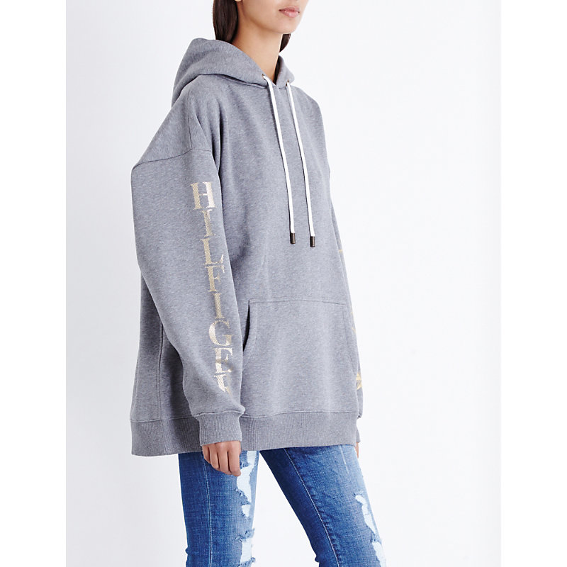Tommy X Gigi Anchor Print Jersey Hoody, Women's, Size: Xs, Medium Grey Htr - neckline: v-neck; length: below the bottom; style: sweat top; predominant colour: light grey; occasions: casual, activity; fibres: cotton - mix; fit: loose; hip detail: subtle/flattering hip detail; sleeve length: long sleeve; sleeve style: standard; pattern type: fabric; pattern size: standard; texture group: jersey - stretchy/drapey; pattern: graphic/slogan; season: a/w 2016