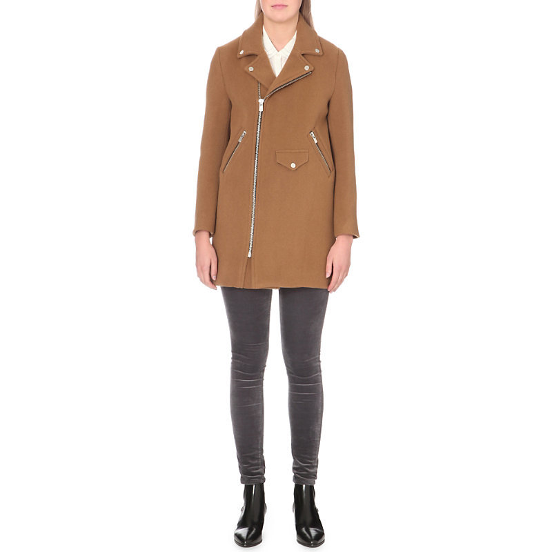 Garius Wool Blend Coat, Women's, Camel - pattern: plain; length: below the bottom; fit: slim fit; collar: standard lapel/rever collar; predominant colour: camel; occasions: casual; fibres: wool - mix; sleeve length: long sleeve; sleeve style: standard; collar break: medium; pattern type: fabric; texture group: woven bulky/heavy; style: biker; wardrobe: basic; season: a/w 2016