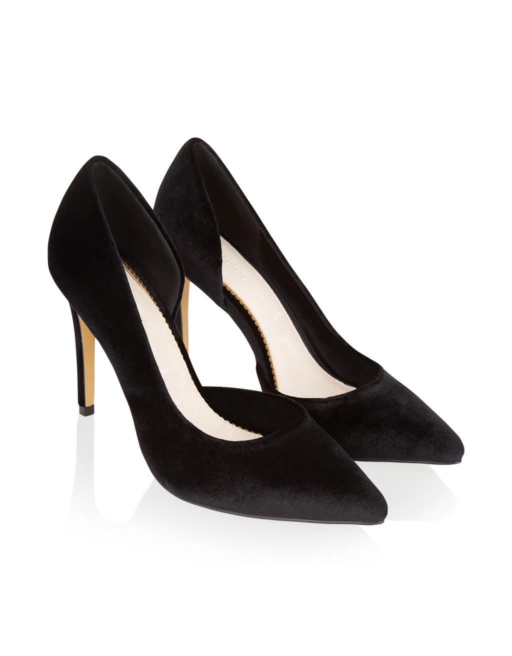 Fern Velvet Court - predominant colour: black; occasions: evening, work, occasion; material: velvet; heel height: high; heel: stiletto; toe: pointed toe; style: courts; finish: plain; pattern: plain; season: a/w 2016; wardrobe: highlight