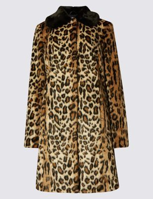 Faux Fur Leopard Print Coat - style: single breasted; length: on the knee; predominant colour: camel; secondary colour: black; occasions: casual, evening, creative work; fit: tailored/fitted; fibres: acrylic - mix; collar: shirt collar/peter pan/zip with opening; sleeve length: long sleeve; sleeve style: standard; texture group: fur; collar break: high/illusion of break when open; pattern type: fabric; pattern: animal print; pattern size: big & busy (top); season: a/w 2016; wardrobe: highlight; trends: eccentrics