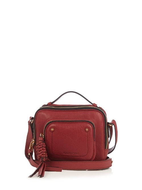 Patti Leather Cross Body Bag - predominant colour: burgundy; occasions: casual, creative work; type of pattern: standard; style: messenger; length: across body/long; size: standard; material: leather; pattern: plain; finish: plain; season: a/w 2016