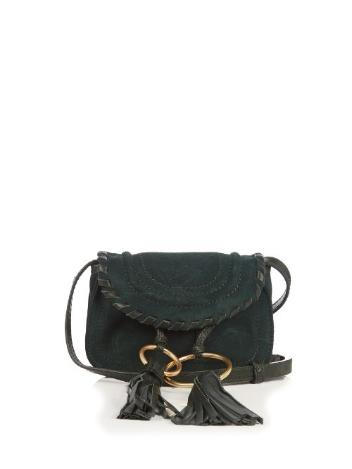 Polly Mini Suede Cross Body Bag - predominant colour: dark green; occasions: casual, creative work; type of pattern: standard; style: messenger; length: across body/long; size: mini; material: suede; embellishment: tassels; pattern: plain; finish: plain; season: a/w 2016; wardrobe: highlight