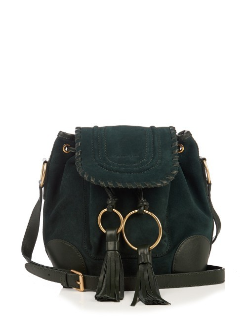 Polly Suede Cross Body Bucket Bag - predominant colour: dark green; occasions: casual, creative work; type of pattern: standard; style: onion bag; length: across body/long; size: standard; material: suede; embellishment: tassels; pattern: plain; finish: plain; season: a/w 2016; wardrobe: highlight