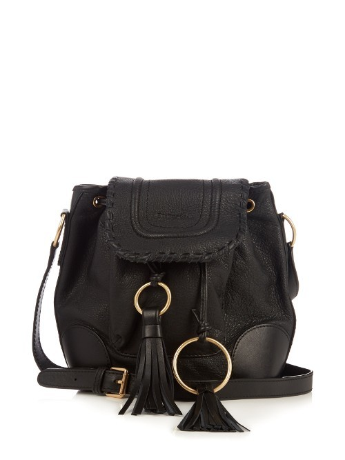 Polly Leather Cross Body Bucket Bag - secondary colour: gold; predominant colour: black; occasions: casual, creative work; type of pattern: standard; style: onion bag; length: across body/long; size: standard; material: suede; embellishment: tassels; pattern: plain; finish: plain; wardrobe: investment; season: a/w 2016
