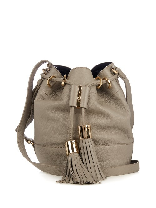 Vicki Medium Leather Cross Body Bucket Bag - predominant colour: stone; occasions: casual, creative work; type of pattern: standard; style: onion bag; length: across body/long; size: standard; material: leather; embellishment: tassels; pattern: plain; finish: plain; wardrobe: investment; season: a/w 2016