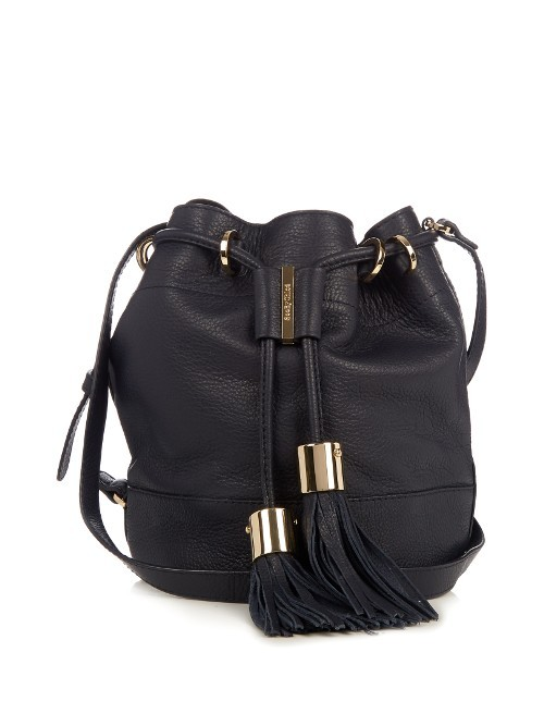 Vicki Medium Leather Cross Body Bucket Bag - predominant colour: black; occasions: casual, creative work; type of pattern: standard; style: onion bag; length: across body/long; size: standard; material: leather; embellishment: tassels; pattern: plain; finish: plain; wardrobe: investment; season: a/w 2016