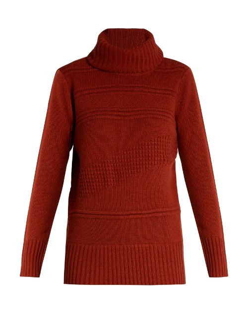 Talassa Sweater - pattern: plain; neckline: roll neck; style: standard; predominant colour: terracotta; occasions: casual, creative work; length: standard; fibres: wool - mix; fit: standard fit; sleeve length: long sleeve; sleeve style: standard; texture group: knits/crochet; pattern type: knitted - other; season: a/w 2016; wardrobe: highlight