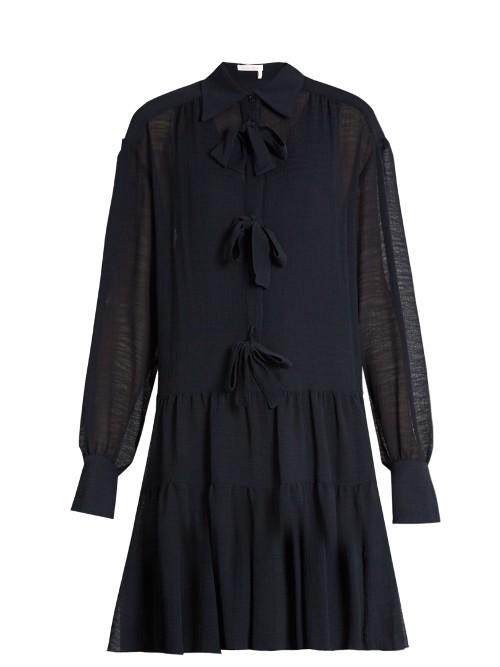 Bow Front Crinkled Georgette Dress - neckline: shirt collar/peter pan/zip with opening; pattern: plain; predominant colour: black; occasions: evening; length: just above the knee; fit: fitted at waist & bust; style: fit & flare; fibres: polyester/polyamide - 100%; sleeve length: long sleeve; sleeve style: standard; texture group: sheer fabrics/chiffon/organza etc.; pattern type: fabric; embellishment: bow; season: a/w 2016; wardrobe: event