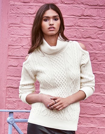 Cold Shoulder Jumper - neckline: roll neck; style: standard; pattern: cable knit; predominant colour: white; occasions: casual; length: standard; fibres: cotton - mix; fit: slim fit; sleeve length: long sleeve; sleeve style: standard; texture group: knits/crochet; pattern type: knitted - fine stitch; pattern size: standard; season: a/w 2016; wardrobe: highlight