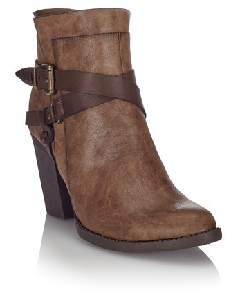 Wrap Buckle Boots - predominant colour: chocolate brown; occasions: casual; material: faux leather; heel height: mid; embellishment: buckles; heel: block; toe: round toe; boot length: ankle boot; style: standard; finish: plain; pattern: plain; wardrobe: basic; season: a/w 2016