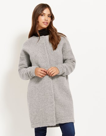 Knitted Coat - pattern: plain; collar: round collar/collarless; fit: loose; length: on the knee; predominant colour: light grey; occasions: casual; style: cocoon; fibres: polyester/polyamide - mix; sleeve length: long sleeve; sleeve style: standard; texture group: knits/crochet; collar break: high; pattern type: fabric; wardrobe: basic; season: a/w 2016