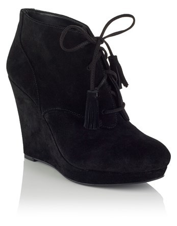 Lace Up Wedged Boots - predominant colour: black; occasions: casual, creative work; material: suede; heel height: high; heel: wedge; toe: round toe; boot length: ankle boot; style: standard; finish: plain; pattern: plain; season: a/w 2016; wardrobe: highlight