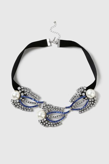 Pearl And Stone Leaf Necklace - secondary colour: ivory/cream; predominant colour: royal blue; occasions: evening, occasion; style: choker/collar/torque; length: choker; size: standard; material: chain/metal; finish: plain; embellishment: pearls; multicoloured: multicoloured; season: a/w 2016; wardrobe: event
