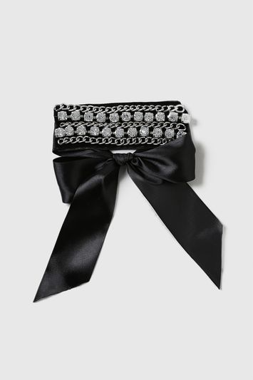 Velvet Chain And Rhinestone Choker - secondary colour: silver; predominant colour: black; occasions: evening, occasion; length: choker; size: standard; material: fabric/cotton; finish: plain; embellishment: crystals/glass; style: bib/statement; season: a/w 2016; wardrobe: event