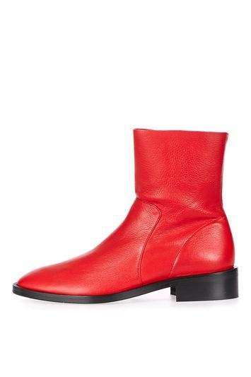 Artichoke Sock Boots - predominant colour: true red; occasions: casual, creative work; material: leather; heel height: mid; heel: block; toe: round toe; boot length: ankle boot; style: standard; finish: plain; pattern: plain; season: a/w 2016; wardrobe: highlight