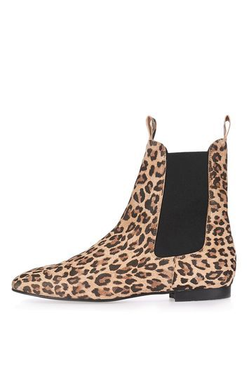 Apple Chelsea Boots - predominant colour: camel; secondary colour: black; occasions: casual, creative work; material: leather; heel height: flat; heel: standard; toe: round toe; boot length: ankle boot; finish: plain; pattern: animal print; style: chelsea; multicoloured: multicoloured; season: a/w 2016; wardrobe: highlight