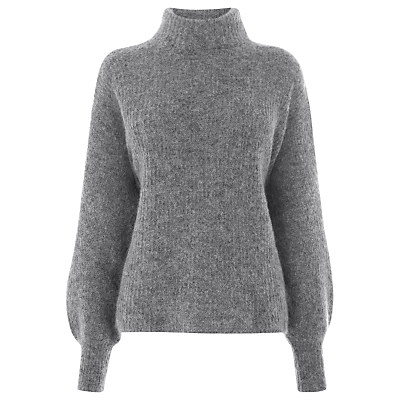 Blouson Sleeve Mohair Jumper, Dark Grey - pattern: plain; neckline: roll neck; style: standard; sleeve style: leg o mutton; predominant colour: mid grey; occasions: casual, work, creative work; length: standard; fibres: polyester/polyamide - stretch; fit: standard fit; sleeve length: long sleeve; texture group: knits/crochet; pattern type: knitted - fine stitch; wardrobe: basic; season: a/w 2016; trends: chunky knits