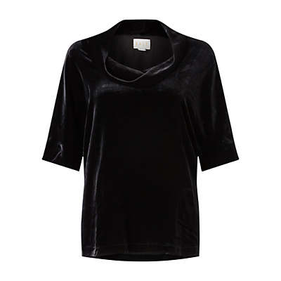 Silk Velvet Bardot Top - neckline: cowl/draped neck; pattern: plain; style: t-shirt; sleeve style: leg o mutton; predominant colour: black; occasions: evening; length: standard; fit: loose; sleeve length: half sleeve; pattern type: fabric; texture group: velvet/fabrics with pile; fibres: viscose/rayon - mix; season: a/w 2016; wardrobe: event