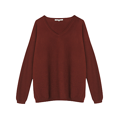 Suomi Jumper - neckline: round neck; pattern: plain; style: standard; predominant colour: burgundy; occasions: casual, creative work; length: standard; fit: loose; fibres: cashmere - 100%; sleeve length: long sleeve; sleeve style: standard; texture group: knits/crochet; pattern type: knitted - other; season: a/w 2016; wardrobe: highlight