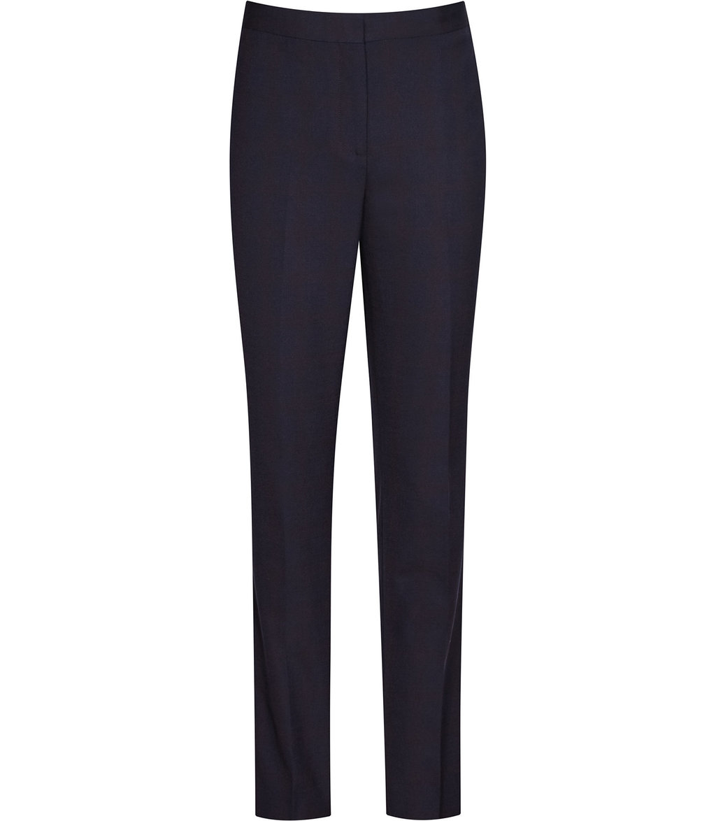 Tyra Trouser Womens Slim Leg Trousers In Blue - length: standard; pattern: plain; waist: high rise; predominant colour: navy; occasions: work; fibres: wool - stretch; fit: slim leg; pattern type: fabric; texture group: woven light midweight; style: standard; wardrobe: basic; season: a/w 2016