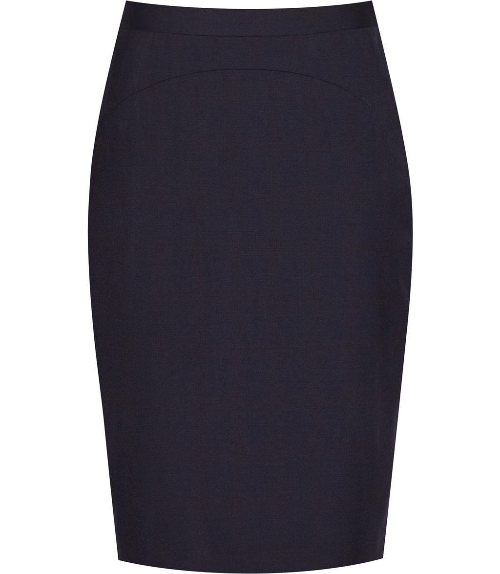 Tyra Skirt Womens Checked Pencil Skirt In Blue - pattern: plain; style: pencil; fit: tailored/fitted; waist: mid/regular rise; predominant colour: navy; occasions: work; length: just above the knee; fibres: wool - stretch; pattern type: fabric; texture group: woven light midweight; wardrobe: basic; season: a/w 2016