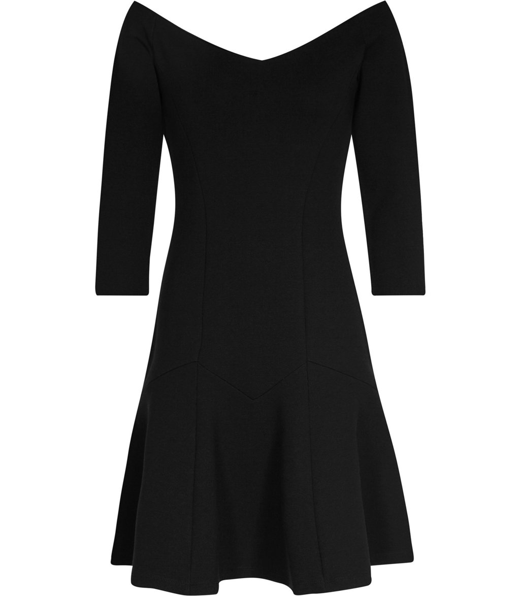 Kitty Womens Off The Shoulder Dress In Black - neckline: off the shoulder; pattern: plain; predominant colour: black; occasions: evening; length: just above the knee; fit: fitted at waist & bust; style: fit & flare; fibres: viscose/rayon - stretch; sleeve length: 3/4 length; sleeve style: standard; pattern type: fabric; texture group: jersey - stretchy/drapey; season: a/w 2016; wardrobe: event