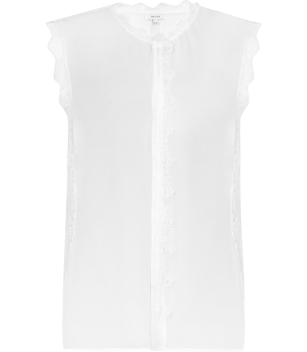 Jean Womens Lace Trim Sleeveless Blouse In White - pattern: plain; sleeve style: sleeveless; style: blouse; predominant colour: white; occasions: casual, work, creative work; length: standard; fibres: silk - 100%; fit: straight cut; neckline: crew; sleeve length: sleeveless; pattern type: fabric; texture group: other - light to midweight; embellishment: lace; season: a/w 2016; wardrobe: highlight