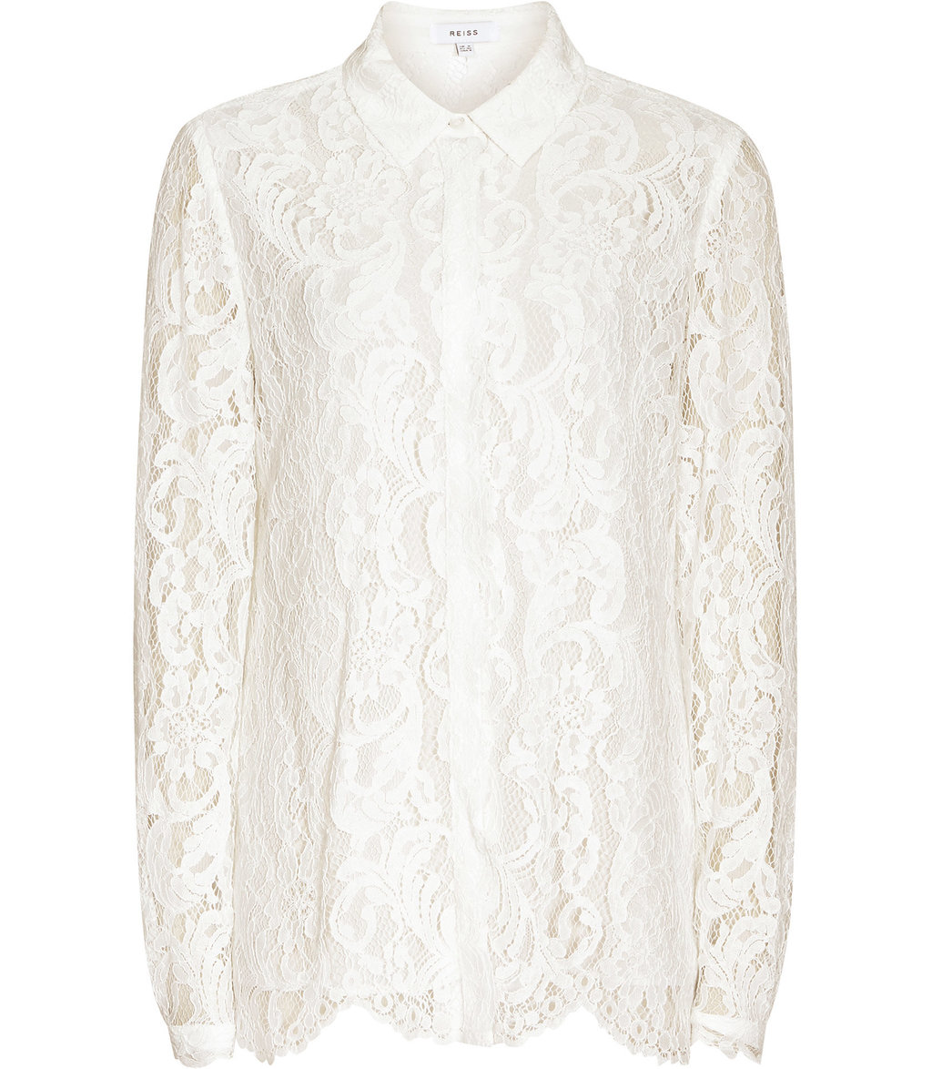 Yasmina Womens Lace Blouse In White - neckline: shirt collar/peter pan/zip with opening; style: blouse; predominant colour: white; occasions: evening, occasion; length: standard; fibres: silk - 100%; fit: body skimming; sleeve length: long sleeve; sleeve style: standard; texture group: lace; pattern type: fabric; pattern size: standard; pattern: patterned/print; embellishment: lace; season: a/w 2016