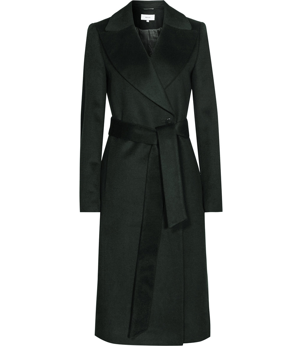 Forley Womens Textured Longline Coat In Green - pattern: plain; collar: wide lapels; style: wrap around; fit: slim fit; predominant colour: dark green; occasions: casual; fibres: wool - 100%; length: below the knee; waist detail: belted waist/tie at waist/drawstring; sleeve length: long sleeve; sleeve style: standard; collar break: medium; pattern type: fabric; texture group: woven bulky/heavy; season: a/w 2016; wardrobe: highlight