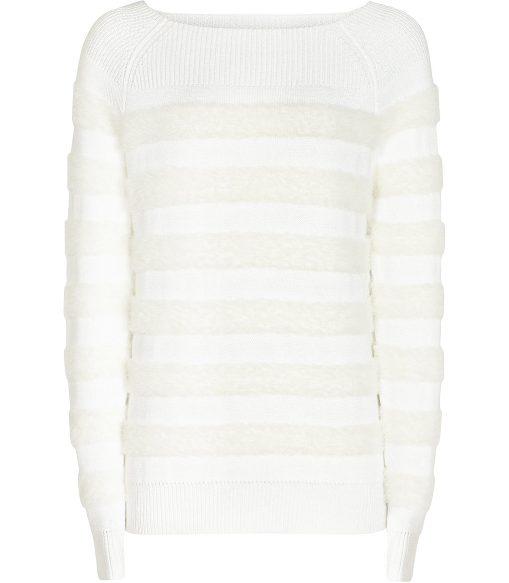 Orphilla Womens Textured Stripe Jumper In White - neckline: slash/boat neckline; pattern: horizontal stripes; style: standard; predominant colour: white; occasions: casual, creative work; length: standard; fibres: acrylic - mix; fit: standard fit; sleeve length: long sleeve; sleeve style: standard; texture group: knits/crochet; pattern type: knitted - fine stitch; pattern size: standard; season: a/w 2016; wardrobe: highlight