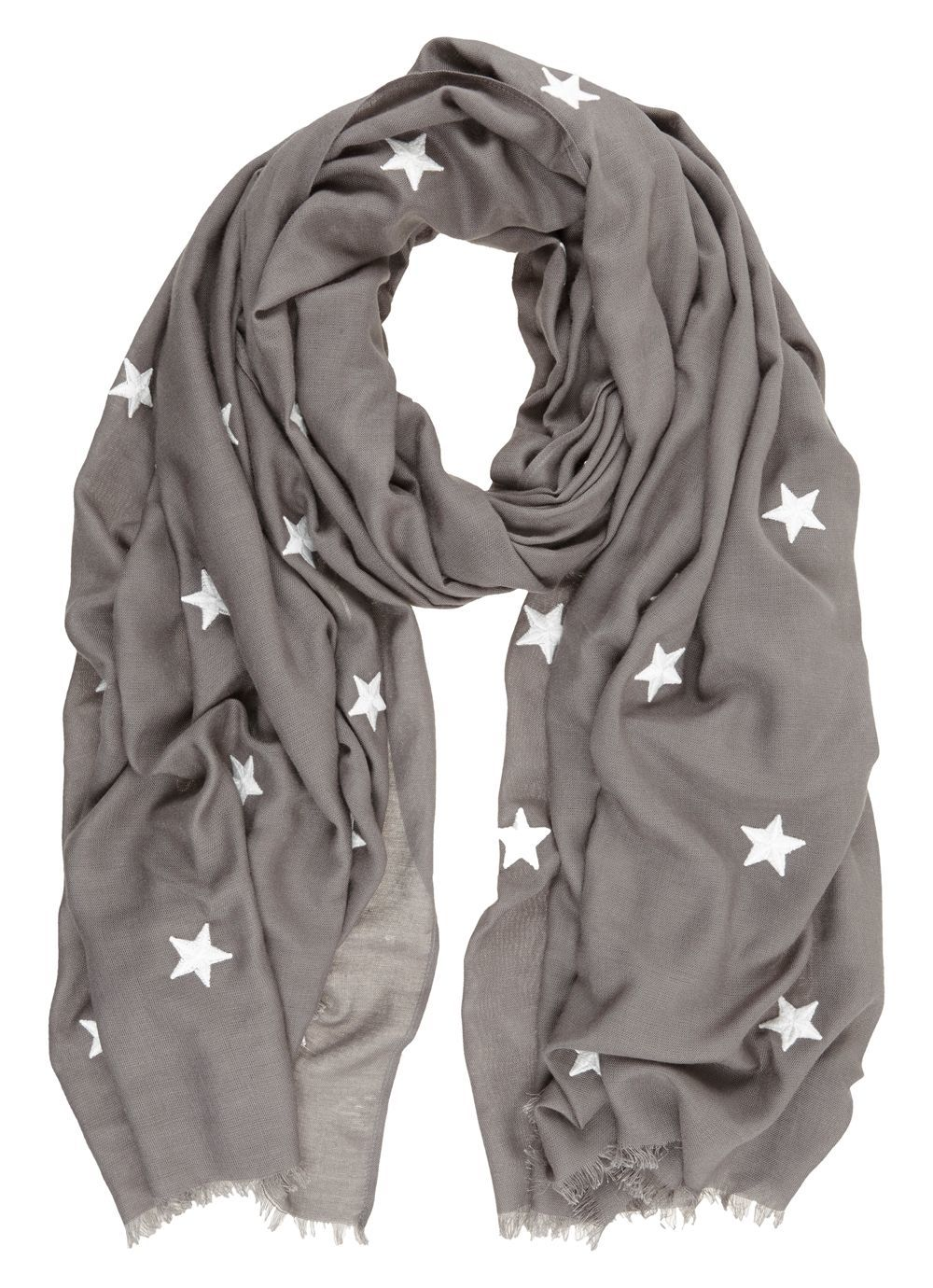 Grey Scattered Embroidered Star Scarf, Grey - secondary colour: white; predominant colour: mid grey; occasions: casual, creative work; type of pattern: standard; style: regular; size: standard; material: fabric; pattern: plain; wardrobe: basic; season: a/w 2016