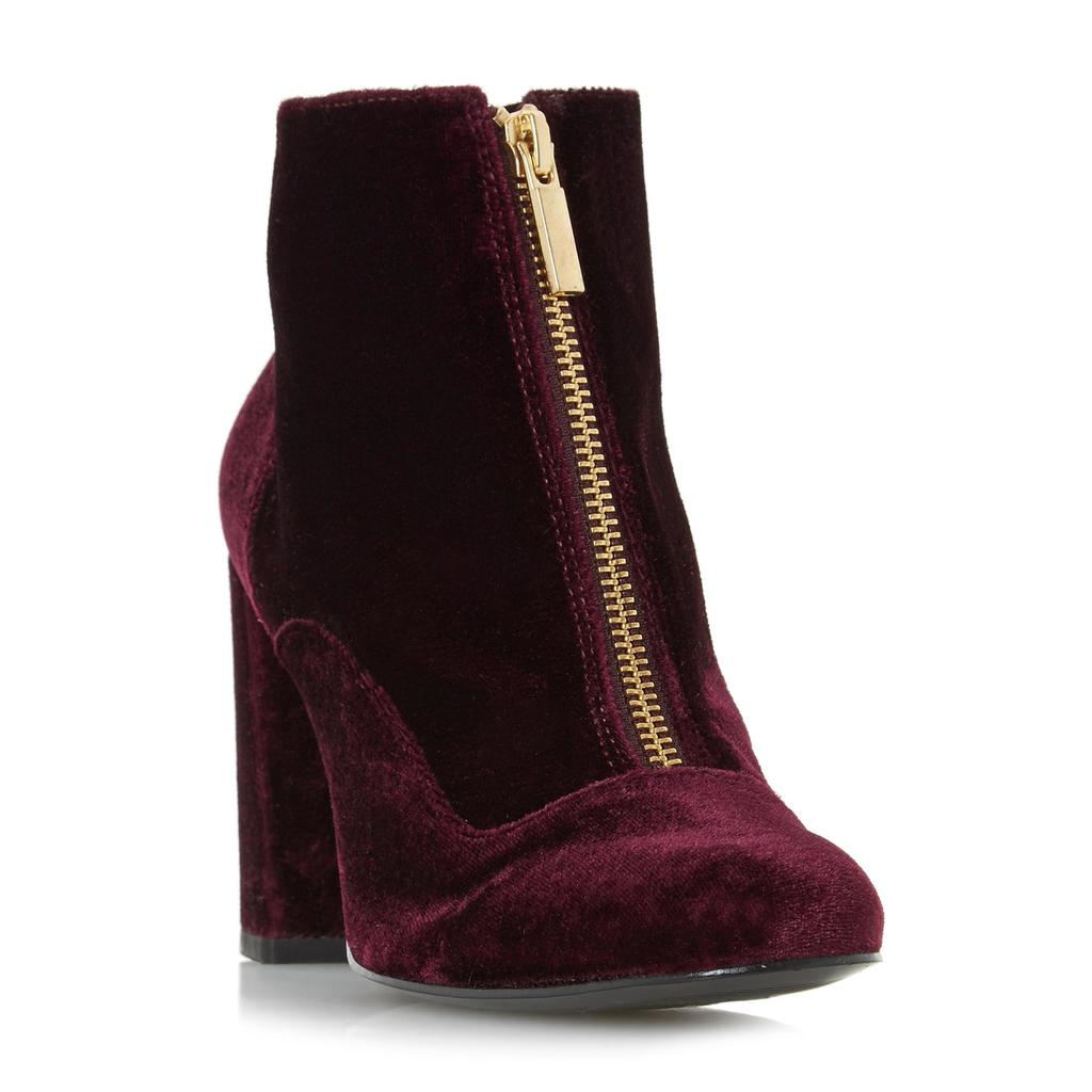 Oldwych Front Zip Heeled Ankle Boot - predominant colour: burgundy; occasions: casual; material: suede; heel height: high; heel: block; toe: round toe; boot length: ankle boot; style: standard; finish: plain; pattern: plain; season: a/w 2016; wardrobe: highlight