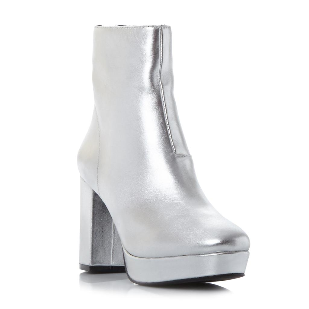 Peace Sm Chunky Platform Ankle Boot - predominant colour: silver; occasions: casual; material: leather; heel height: high; heel: block; toe: round toe; boot length: ankle boot; style: standard; finish: metallic; pattern: plain; shoe detail: platform; season: a/w 2016; wardrobe: highlight