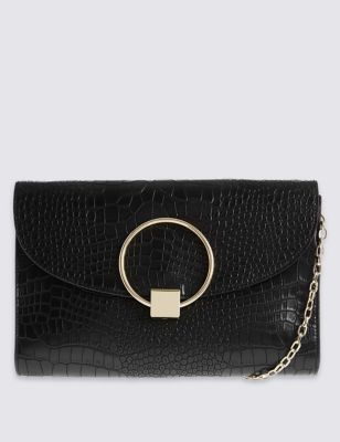 Faux Leather Clutch Bag - predominant colour: black; occasions: evening; type of pattern: standard; style: clutch; length: hand carry; size: small; material: faux leather; pattern: plain; finish: plain; embellishment: chain/metal; season: a/w 2016; wardrobe: event