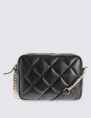 Leather Across Body Quilt Bag - predominant colour: black; occasions: casual; type of pattern: standard; style: messenger; length: across body/long; size: small; material: leather; embellishment: quilted; pattern: plain; finish: plain; season: a/w 2016