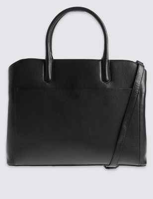 Leather Laptop Technology Tote Bag - predominant colour: black; occasions: work, creative work; type of pattern: standard; style: tote; length: handle; size: standard; material: leather; pattern: plain; finish: plain; wardrobe: investment; season: a/w 2016