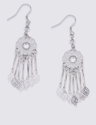 Diamanté Filigree Drop Earrings - predominant colour: silver; occasions: evening, occasion; style: chandelier; length: mid; size: standard; material: chain/metal; fastening: pierced; finish: metallic; embellishment: crystals/glass; season: s/s 2016; wardrobe: event