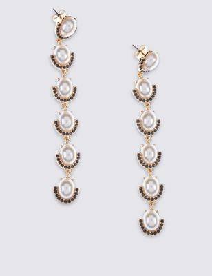 Glam Pearl Long Earrings - predominant colour: ivory/cream; secondary colour: gold; occasions: evening, occasion; style: drop; length: extra long; size: standard; material: chain/metal; fastening: pierced; finish: metallic; embellishment: pearls; season: a/w 2016