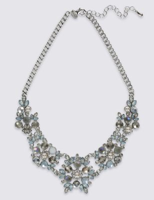 Encrusted Flower Necklace - predominant colour: silver; occasions: evening, occasion; length: mid; size: large/oversized; material: chain/metal; finish: metallic; embellishment: crystals/glass; style: bib/statement; season: a/w 2016; wardrobe: event