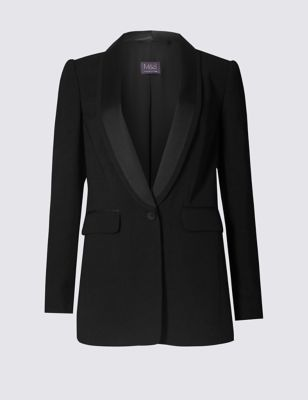 Tuxedo Satin Blazer - pattern: plain; style: single breasted blazer; collar: shawl/waterfall; predominant colour: black; occasions: work; length: standard; fit: tailored/fitted; fibres: polyester/polyamide - 100%; waist detail: fitted waist; sleeve length: long sleeve; sleeve style: standard; texture group: crepes; collar break: low/open; pattern type: fabric; wardrobe: investment; season: a/w 2016