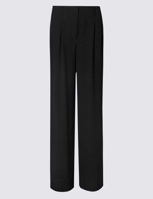 Wide Leg Trousers - length: standard; pattern: plain; waist: mid/regular rise; predominant colour: black; occasions: work; fibres: polyester/polyamide - 100%; texture group: crepes; fit: wide leg; pattern type: fabric; style: standard; wardrobe: basic; season: a/w 2016