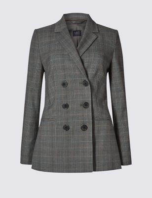 Double Breasted Checked Jacket - pattern: checked/gingham; style: double breasted blazer; collar: standard lapel/rever collar; hip detail: draws attention to hips; predominant colour: charcoal; secondary colour: mid grey; occasions: work; length: standard; fit: tailored/fitted; fibres: polyester/polyamide - stretch; sleeve length: long sleeve; sleeve style: standard; collar break: medium; pattern type: fabric; pattern size: standard; texture group: woven light midweight; season: a/w 2016; wardrobe: highlight; embellishment location: bust