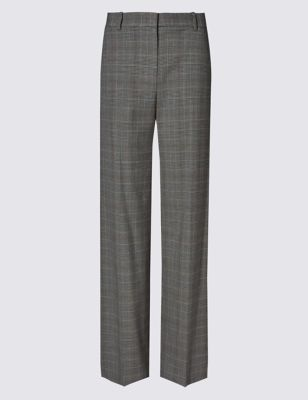 Checked Wide Leg Trousers - length: standard; pattern: checked/gingham; waist: mid/regular rise; predominant colour: charcoal; occasions: work; fibres: wool - mix; waist detail: narrow waistband; fit: wide leg; pattern type: fabric; texture group: woven light midweight; style: standard; pattern size: standard (bottom); season: a/w 2016; wardrobe: highlight
