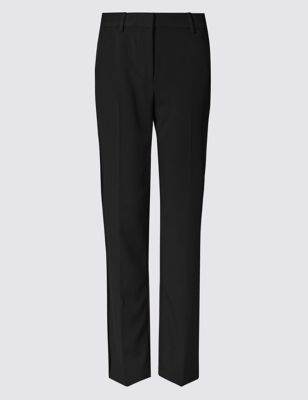 Straight Leg Trousers - length: standard; pattern: plain; waist: mid/regular rise; predominant colour: black; occasions: work, creative work; fibres: polyester/polyamide - stretch; fit: straight leg; pattern type: fabric; texture group: woven light midweight; style: standard; season: a/w 2016
