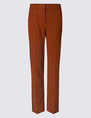 Side Stripe Straight Leg Trousers - length: standard; pattern: plain; waist: mid/regular rise; predominant colour: tan; occasions: casual, creative work; fibres: polyester/polyamide - stretch; fit: straight leg; pattern type: fabric; texture group: woven light midweight; style: standard; pattern size: standard (bottom); season: a/w 2016; wardrobe: highlight