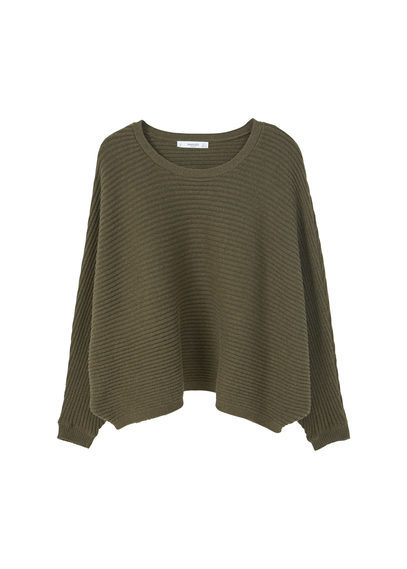 Dolman Sleeve Sweater - pattern: plain; style: standard; predominant colour: khaki; occasions: casual; length: standard; fibres: cotton - mix; fit: loose; neckline: crew; sleeve length: long sleeve; sleeve style: standard; texture group: knits/crochet; pattern type: knitted - other; wardrobe: basic; season: a/w 2016