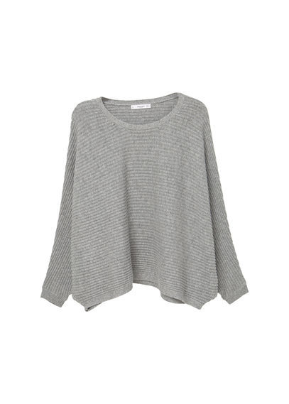 Dolman Sleeve Sweater - pattern: plain; style: standard; predominant colour: mid grey; occasions: casual; length: standard; fibres: cotton - mix; fit: loose; neckline: crew; sleeve length: long sleeve; sleeve style: standard; texture group: knits/crochet; pattern type: knitted - fine stitch; wardrobe: basic; season: a/w 2016