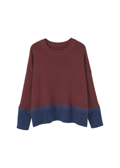 Contrast Hem Sweater - neckline: round neck; style: standard; predominant colour: burgundy; occasions: casual; length: standard; fibres: wool - mix; fit: loose; sleeve length: long sleeve; sleeve style: standard; texture group: knits/crochet; pattern type: knitted - fine stitch; pattern size: standard; pattern: colourblock; season: a/w 2016; wardrobe: highlight
